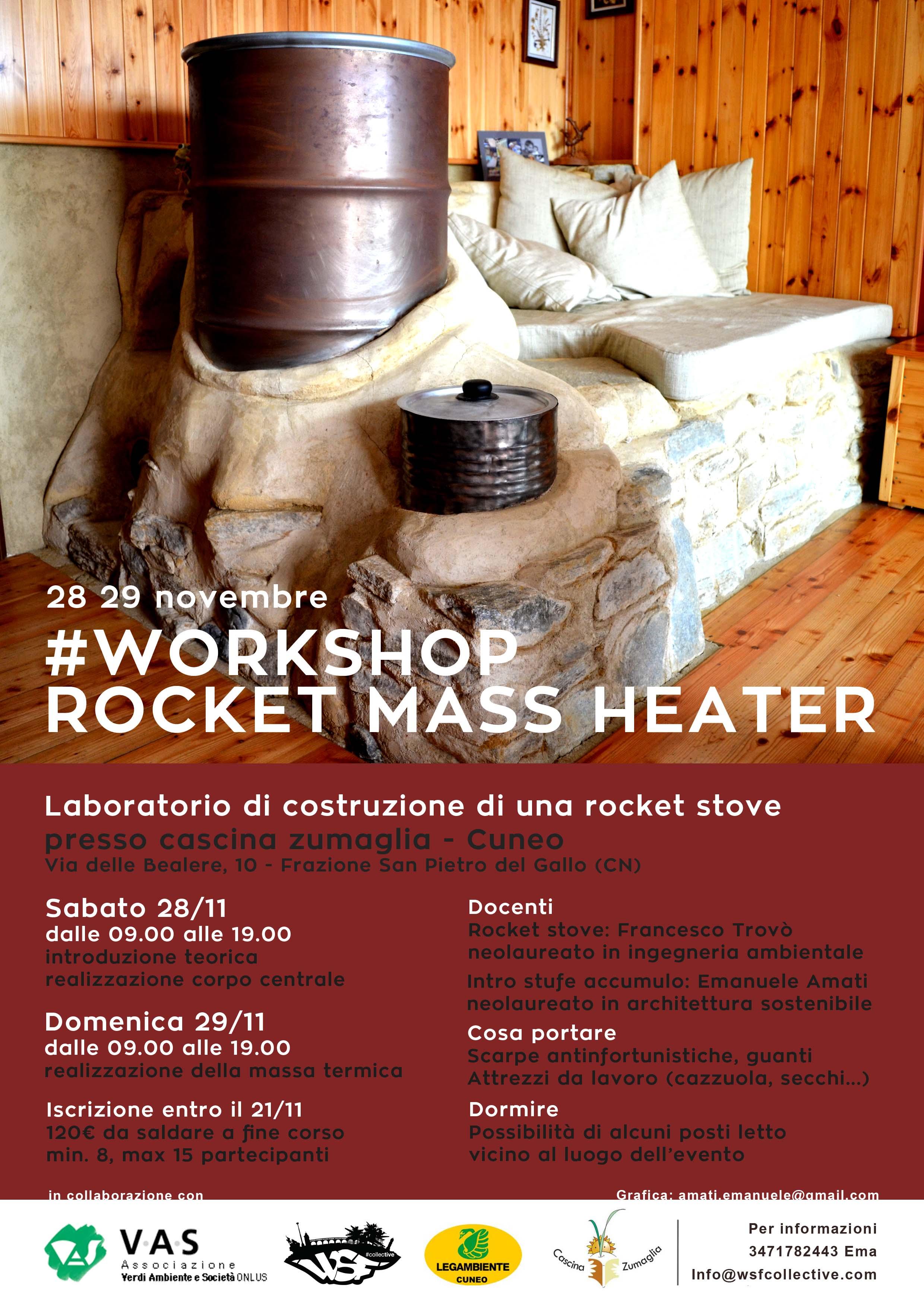 Cuneo laboratorio rocket mass heater la stufa per l ambiente for Stufa rocket