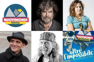 """Collage fotografico di alcuni dei grandi ospiti del """"Nuovi Mondi"""" Festival 2017: Reinhold Messner, Tamara Lunger, Lindo Ferretti e Jim Bridwell"""